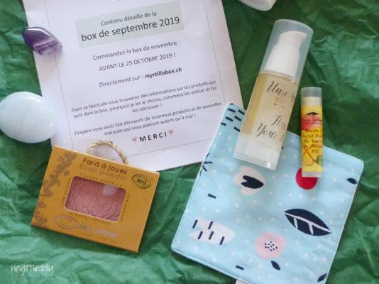 J'ai reçu la Myrtilla Box : box beauté naturelle suisse !